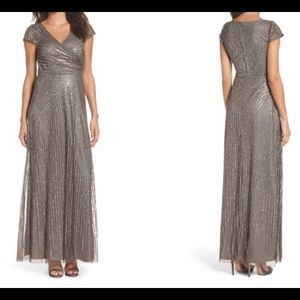 NWT Adrianna Papell sequin faux wrap gown in Lead
